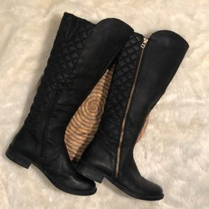 Steve Madden Black Leather Quilted Tall Boots 7.5M